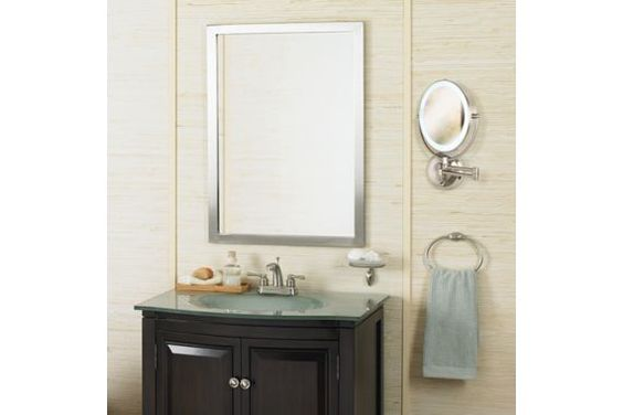 24 x 33 Paradox Brushed Nickel Rectangle 33-Inch-H Wall Mirror
