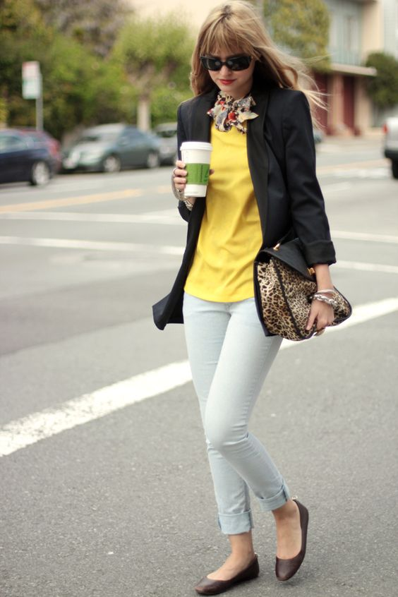 Yellow top and patterned scarf: