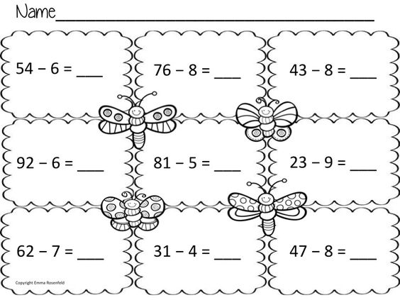 Worksheets to practice double digit subtraction – Subtracting 1 Digit from 2 Digit Numbers Worksheets