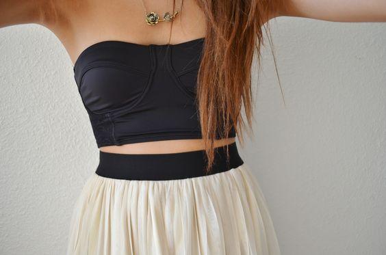 bandeau top and high waisted skirt