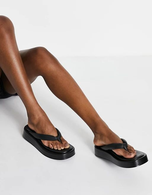 Kaltur leather flatform flip flop sandals in black ASOS