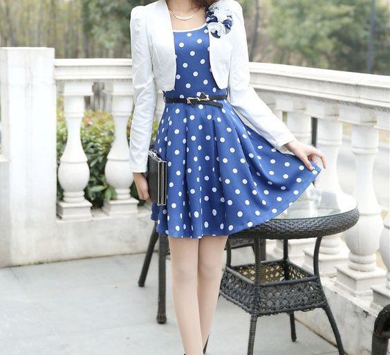 Casual Scoop Neck Polka Dot Waistband Twinset Plus Size Semi Formal Dress For Women (in Blue) (DressLily.com)