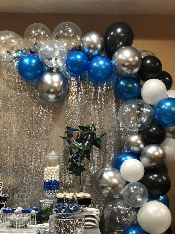 Pin De Carol López En Lina Diaz Decoraciones De Fiesta Azul Decoración Fiesta Adultos Decoración Con Globos Cumpleaños
