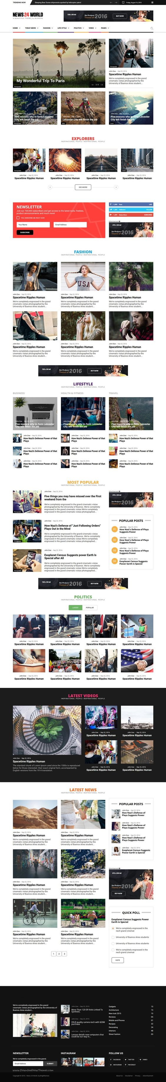News24 World is a unique and creative #Bootstrap HTML #template ...