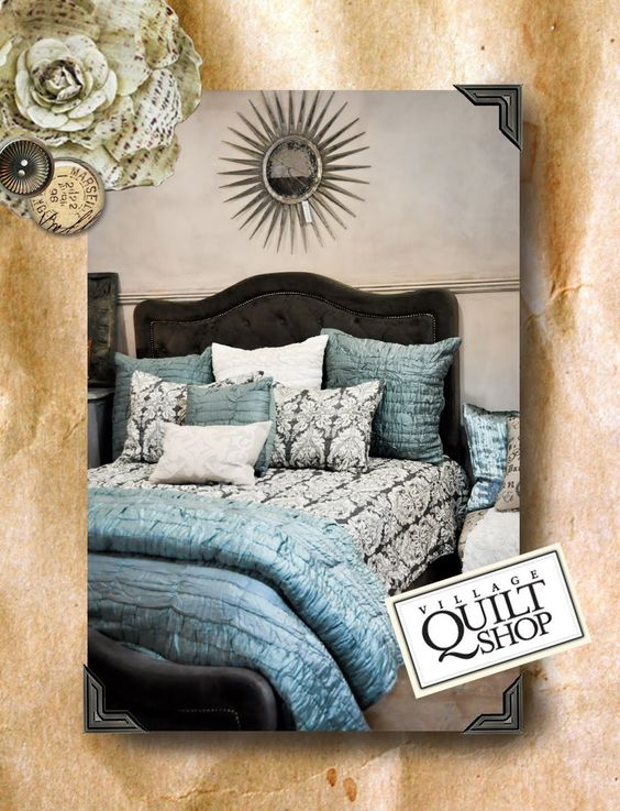charcoal gray damask quilt master bed goal colors! Damask, black, white, and Caribbean blue