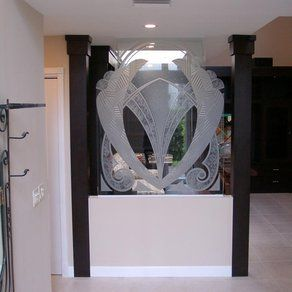 Carved Out to Shape Art Deco Knee Wall  Heavy Glass Partition by Art Glass Environments, Inc.
