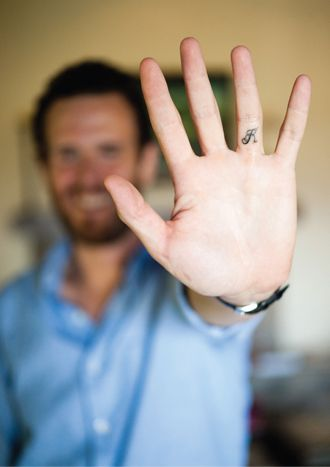 Tattoo on the underside of ring finger