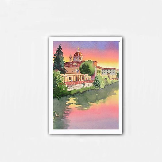 Painting of Florence Italy  Giclee Watercolor by WatercolorByMuren, $30.00