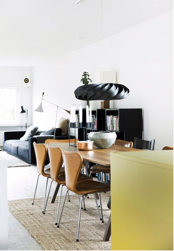 Stue, spisestue og køkken i ét rum