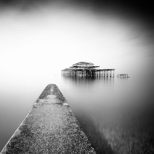 Old dock in the fog.