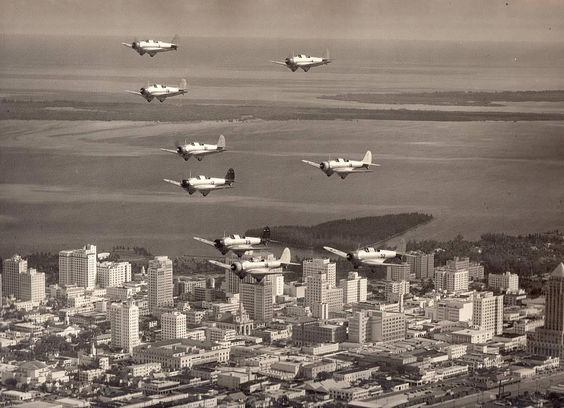 Northrop BT-1 Dive Bombers over Downtown Miami, 1939.