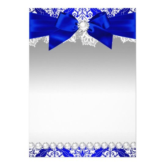 Royal Blue Damask Pearl Bow Quinceanera Invite