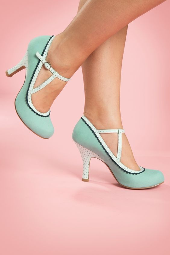 Ruby Shoo - 50s Jessica Ankle Strap Pumps in Mint