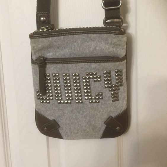 Juicy crossbody bag Gray and army green crossbody bag with silver studding spell out JUICY on front. Long adjustable strap. Excellent condition. Juicy Couture Bags Crossbody Bags