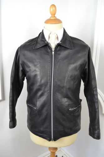 VINTAGE 1980's BLACK LEATHER MOTORCYCLE STYLE JACKET SMALL 38 SHORT