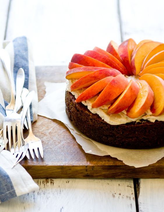 peaches w/ ginger, pecan + brown sugar cake • desserts for breakfast