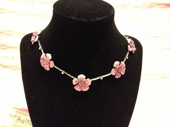 Pretty in Pink 80's Era Painted Pink Flower and Pink Rhinestone Adjustable Necklace. $12.00, via Etsy.