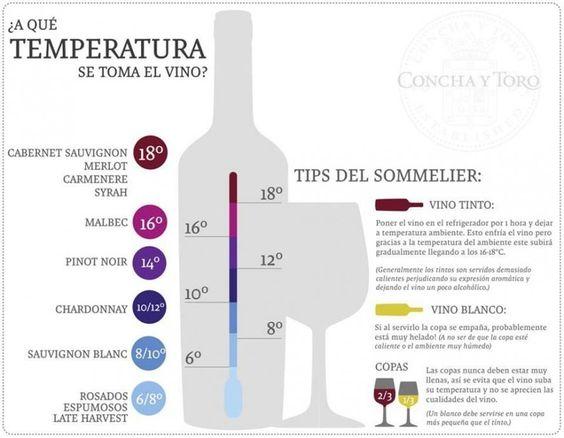 ¿A qué temperatura se toma el vino? #infografía #vino  Fuente: http://www.conchaytoro.com/?lang=es