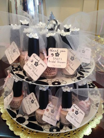 Nail polish bridal shower favors.  See more bridal shower favor ideas at www.one-stop-party-ideas.com: