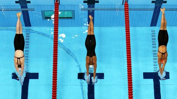 Aerial view of women's 200m Freestyle, 2012 London Olympic Games