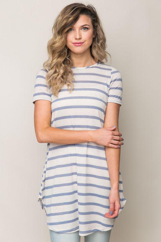 Show Your True Stripes Top in Denim Blue + Oat