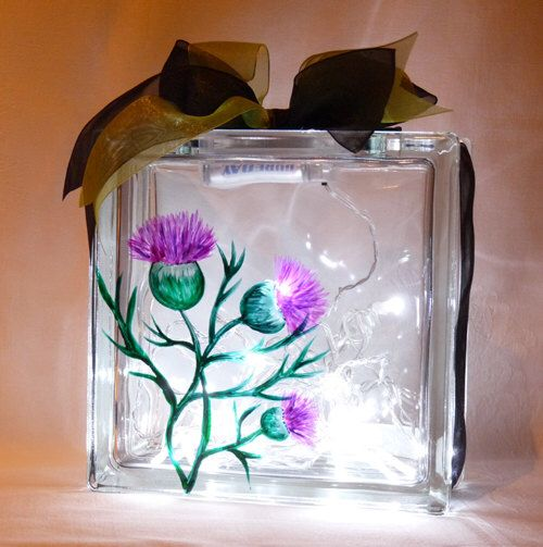 Deco Light Block with Hand Painted Thistle Design by CJRGiftsandDesigns on Etsy https://www.etsy.com/listing/239773437/deco-light-block-with-hand-painted