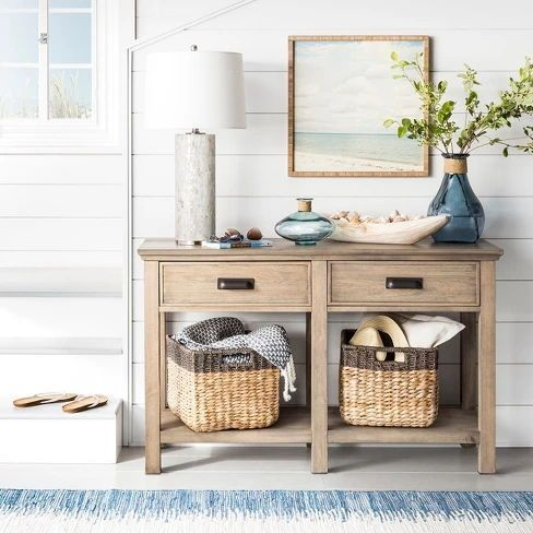 Entryway With Pretty And Natural Baskets For Storage Home Decor