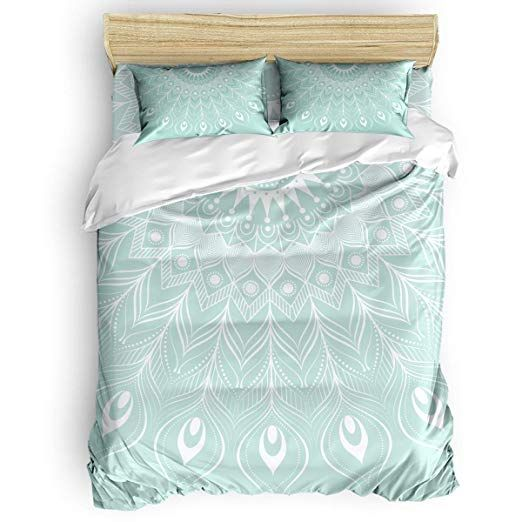 Libaoge Duvet Cover Queen Size Mandala Peacock Feather Ethinc Design Teal White Comforter Quilt Cover With Zipper Clos Queen Duvet Covers Bed White Comforter