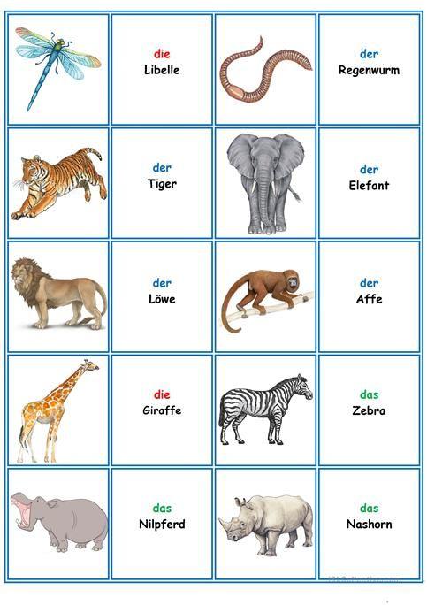 Spiele Im Deutschunterricht Memory Die Tiere Deutsch Lernen Deutsch Unterricht Und Deutsch Lernen Kinder