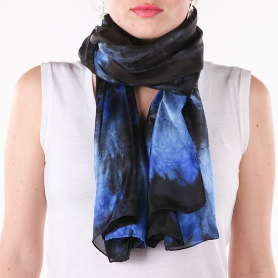 blue and black silk scarf /magnificent blue and by CeliaEtcetera