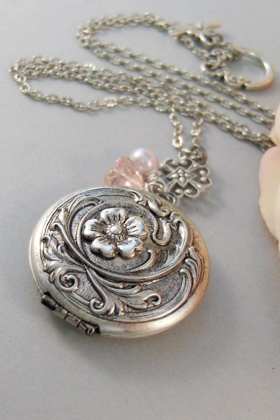 Blushing Locket,Locket,Silver Locket,Flower,Pink,Blush,Antique Locket,Floral,Jewelry. Handmade jewelry by valleygirldesigns.