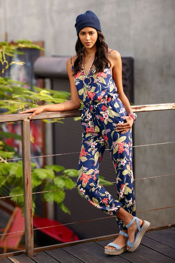 Polo Ralph Lauren Floral Print Jumpsuit: With an easy fit that cinches at the drawcord