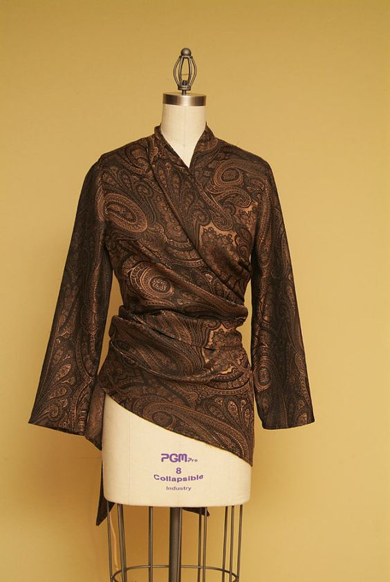 Beautiful Fall Paisley Jacket in Brown & Copper  SALE by Olimpias, $240.00