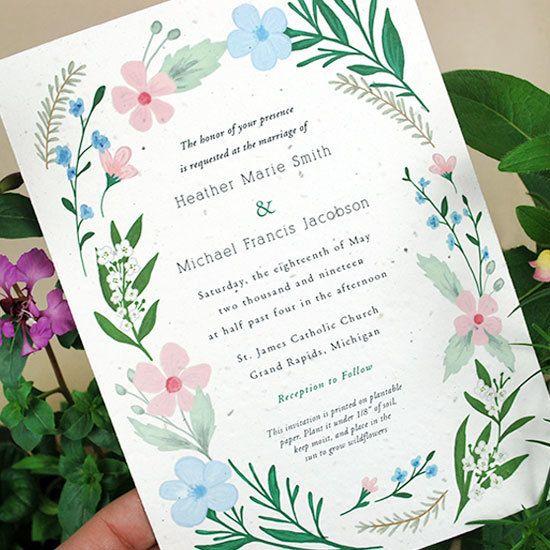 Wildflower Plantable Seeded Paper Wedding Invitations Wedding