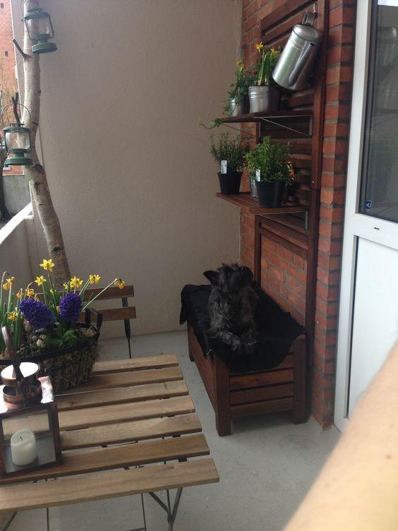 Altan inspiration. Bord, stole, bænk/plantekasse og plante ophæng ...