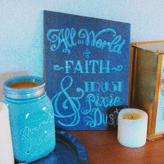 """All the World is Made of Faith and Trust and Pixie Dust"" wood sign, hand painted in a vintage style $45 SOLD. Visit my etsy shop for more signs & more being made daily!"