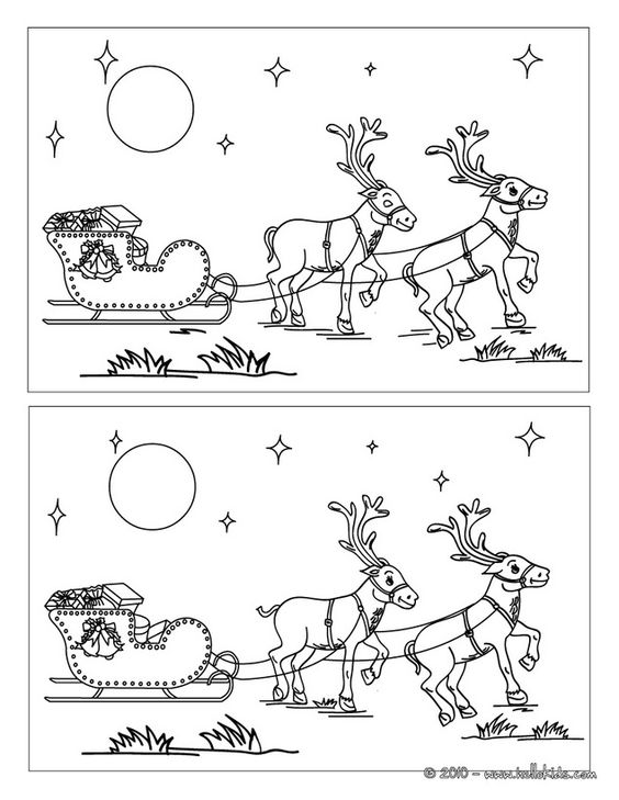 Santa's reindeers printable spot the difference game | diferencias ...