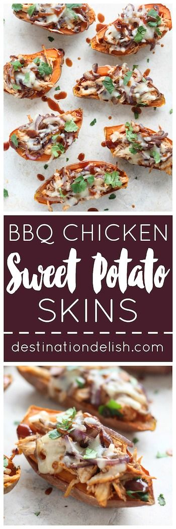 BBQ Chicken Sweet Potato Skins   Destination Delish – A healthy appetizer recipe that packs all the amazing flavors of BBQ chicken pizza into sweet potato skins