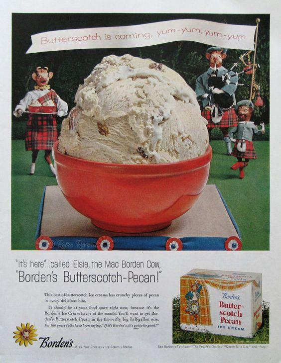 1957 Borden's Butterscotch Pecan Ice Cream Ad