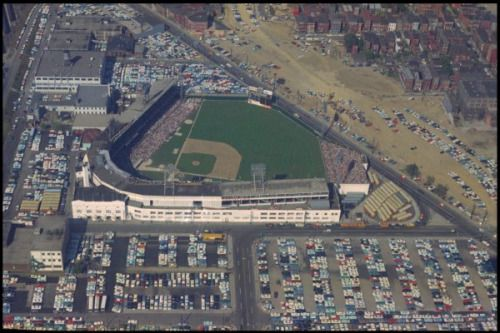 "scottchristmas: ""Crosley Field, home of the Cincinnati Reds, on opening day 1962. The pathway for Interstate 75 had already been cleared beyond the outfield wall and was used that day for overflow parking. """