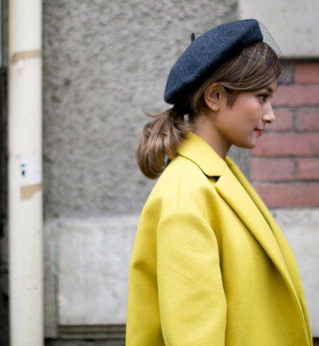 Le béret à voilette, street style de la Fashion Week printemps été 2014