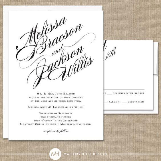 Sophisticated Script Wedding Invitation & RSVP Set