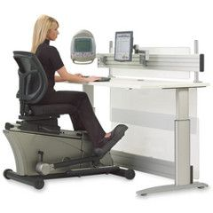 The Elliptical Machine Office Desk.  This is the adjustable-height desk that pairs with a semi-recumbent elliptical trainer to let users exercise while on the job.. haha looks funny but clever