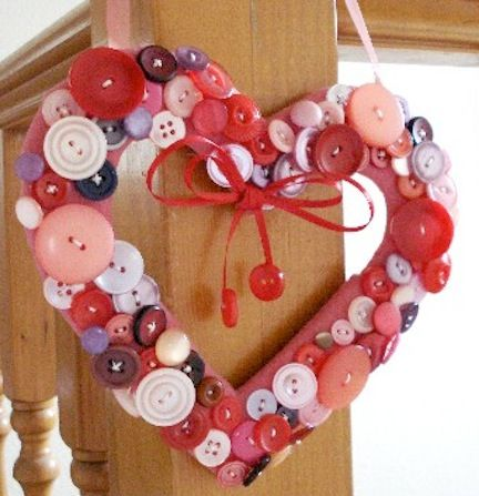 Tons of Buttons  Cut a heart out of foam, then use craft glue to dress it up with buttons.  Visit the post at Holiday Crafts and Creations