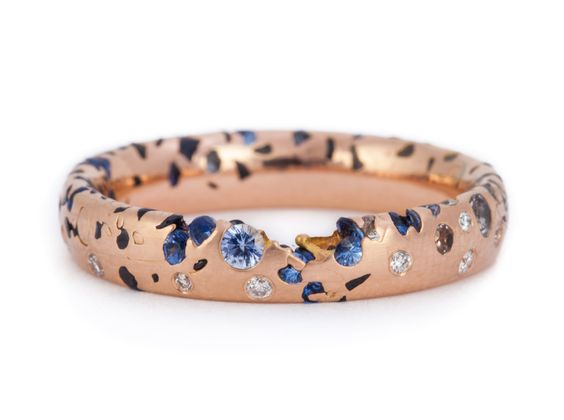 Narrow Blue Ombre Constellation Ring w diamonds 18R web