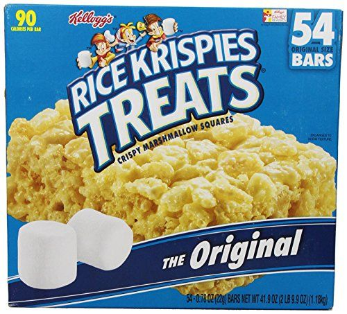 Kellogg's Rice Krispies Treats Original Crispy Marshmallow Squares .78 oz Bars - 54 Bars Rice Krispies http://www.amazon.com/dp/B0028GY9J2/ref=cm_sw_r_pi_dp_PFrzub0BQV7HR