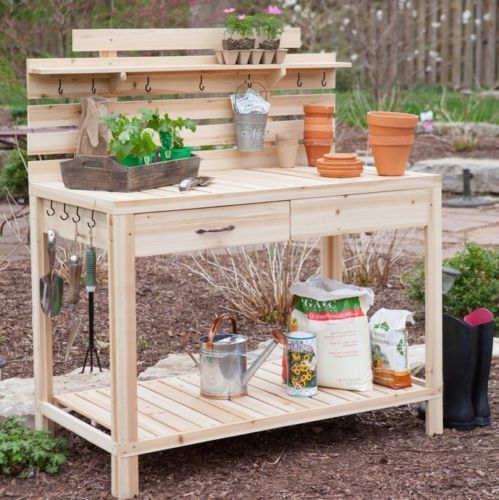 Cedar wood potting bench with sink gardening planting - Potting table with storage ...