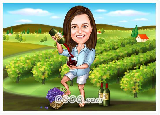 portrait caricature. family portrait cartoon portrait wine caricature portrait Custom caricature vineyard portrait cartoon winery