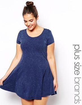 New Look Inspire   New Look Inspire Acid Wash Denim Skater Dress at ASOS