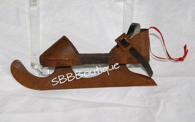"""Antique Looking Rusted Ice Skate Christmas Tree Ornament 6"""" Blade Skating Rustic"""